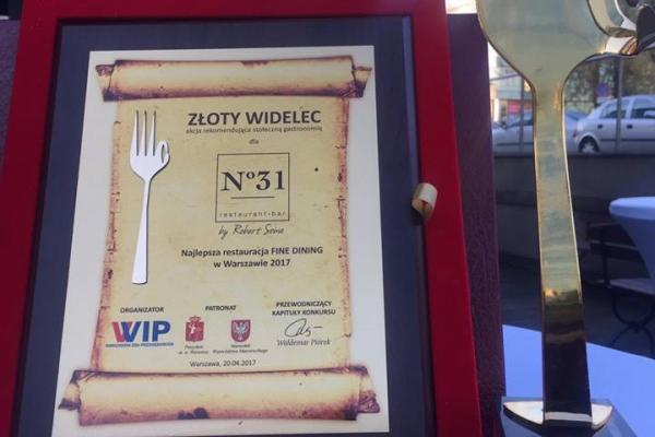 N31 najlepszą restauracją fine dining w 2017!